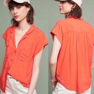 Anthropologie Maeve Orange Button Up Blouse